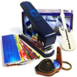 Pick-a-Palooza DIY Guitar Pick Punch Mega Gift Pack - the Premium Pick Maker - Leather Key Chain Pick Holder, 15 Pick Strips and a Guitar File - Blue (Color: Blue/Silver)