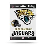 Rico Industries NFL Jacksonville Jaguars Die Cut 3-Piece Triple Spirit Sticker Sheet (Color: Teal, Gold, Black, Tamaño: 3 Team Stickers)