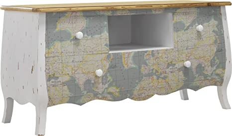 Mueble para televisor madera de pino maciza, color blanco, cuero antiquaire Mappe mundo