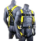 KwikSafety (Charlotte, NC) HURRICANE | OSHA ANSI Fall Protection Full Body Safety Harness w/Back Support | Personal Protective Equipment | Dorsal Ring Side D-Rings | Construction Industrial Roofing (Color: Pass-Through Buckle, Tamaño: 1 Pack)