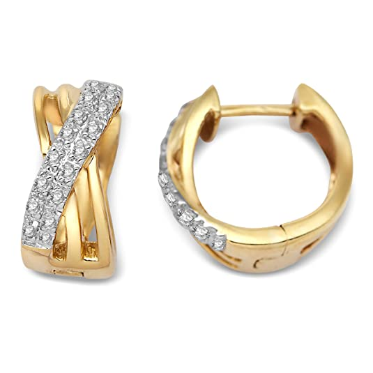 Miore 9ct Yellow Gold Diamond Crossover Hoop Earrings SA926E