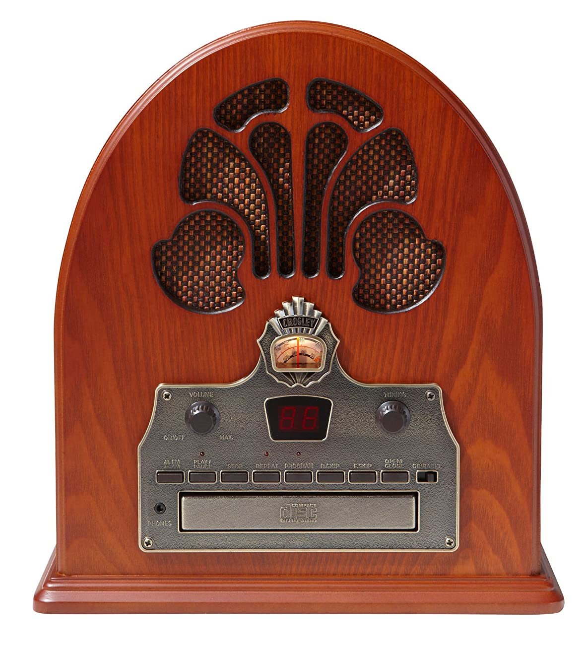 Crosley CR32CD Cathedral Retro AM/FM Radio and CD Player with Full-Range Stereo Speakers, Paprika 2