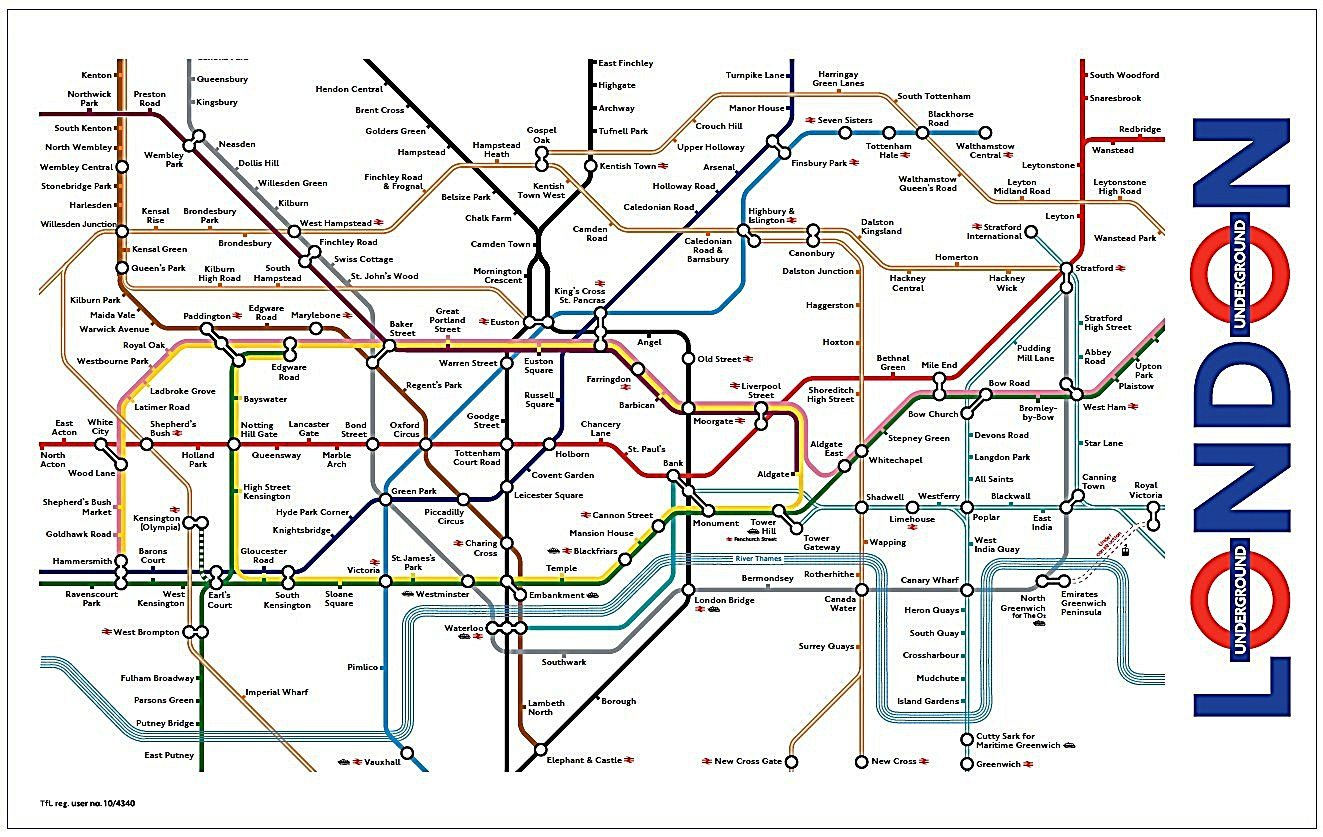 London Underground Map Tea Towel
