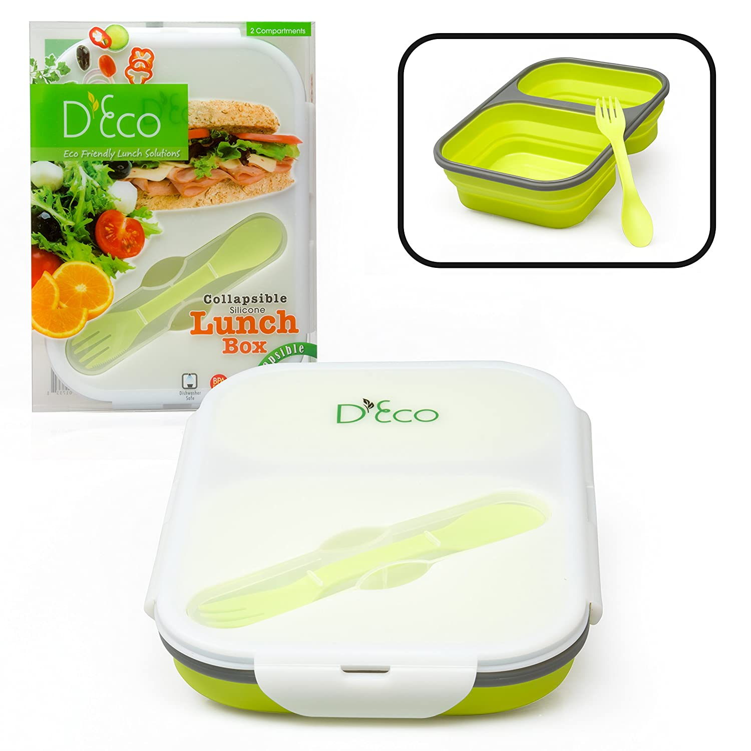 Collapsible Silicone Lunch Box with Two Compartments