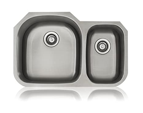 Lenova SS-CL-D3L 18-Gauge Stainless Steel Classic Unequal Double Bowl Undermount Kitchen Sink