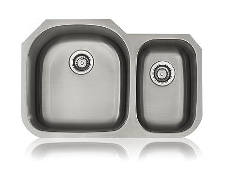 Lenova SS-CL-D3L 18-Gauge Stainless Steel Classic Unequal Double Bowl Undermount Kitchen Sink