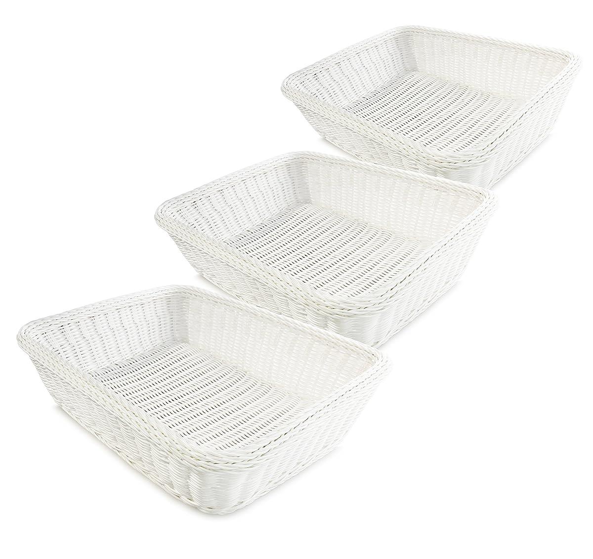 Colorbasket EV02522 Rectangular Thick Trim Storage Basket (Set of 3), Large, White