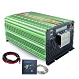 EDECOA Pure Sine Wave Power Inverter 3500W DC 24V to AC 110V 120V 4 AC Outlets and 1 Hardwire Terminal with LCD Display and Remote Controller (Color: Green)