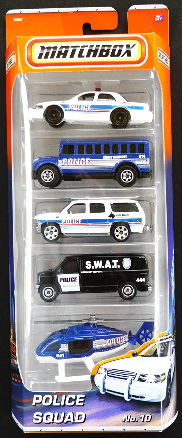 Toy Police Car Matchbox 5 Car Pack Police