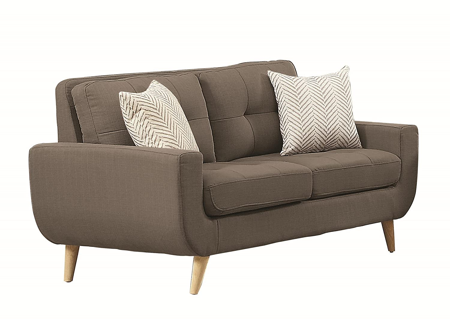 Homelegance Deryn Mid-Century Modern Loveseat with Tufted Back and Two Herringbone Throw Pillows - Grey