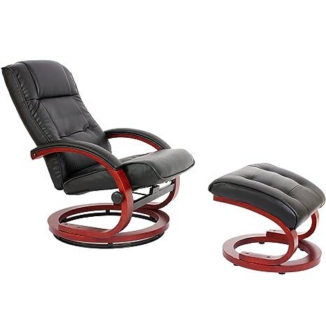 Fernsehsessel Relaxsessel Sessel Pescatori, Kunstleder, mit Hocker ~ schwarz