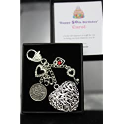 Personalised Happy 50th Birthday Lucky Sixpence Keepsake Gift