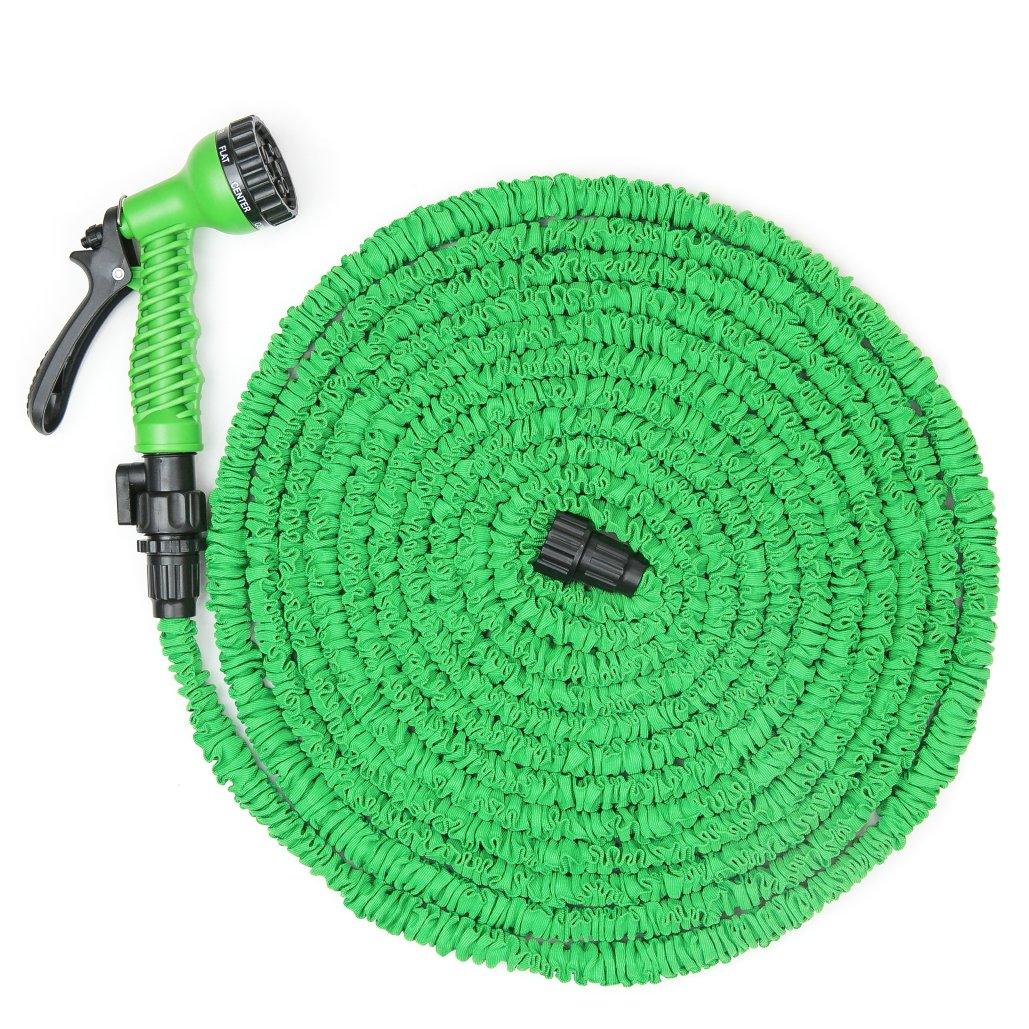 WYZworks 50/75/100 feet (100 feet) Lightweight Expandable Garden Hose Green + 7 Function Spray Nozzle + Shut-off Valve