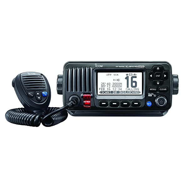ICOM IC-M424G 21 Compact Marine VHF Radio, with Hailer, in Black (Tamaño: weather alert = none | waterproof rating = waterpr)