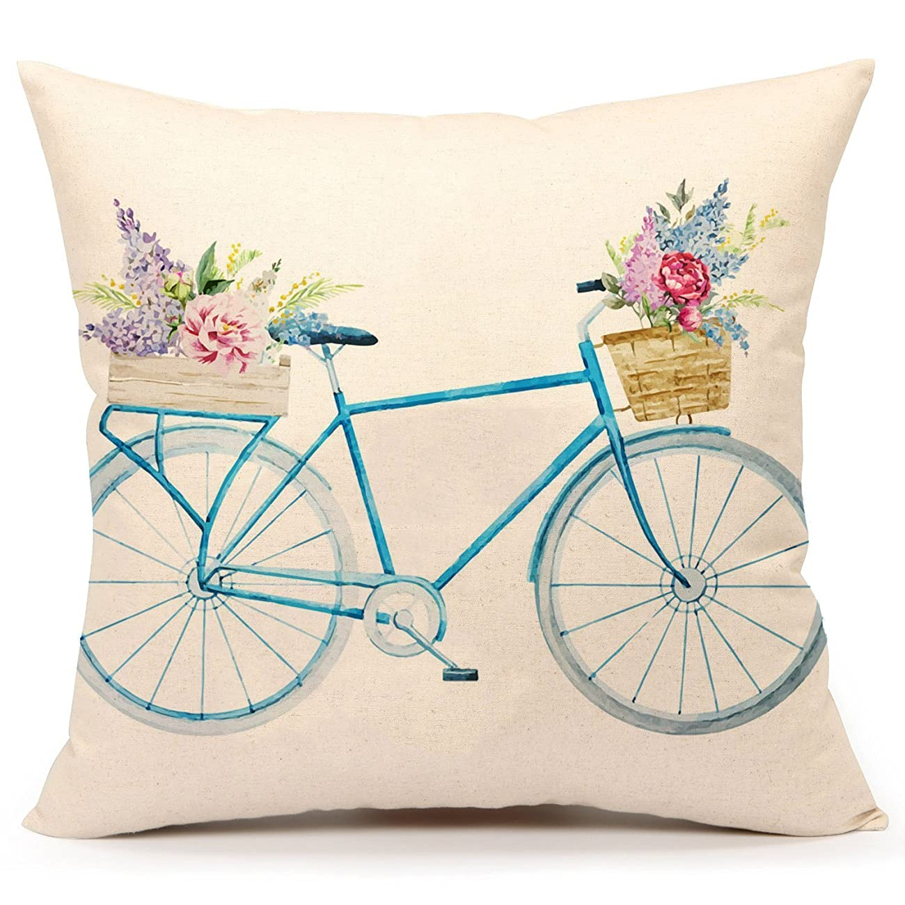 Watercolor Retro Bicycle and Flowers Vintage Home Decor Design Throw Pillow Case 18 x 18 Inch Cotton Linen for Sofa (blue) 0