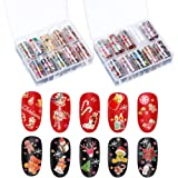 2 Boxes 20 Sheets Christmas Nail Decals Nail Art Stickers Nail Foil Transfer Wraps for Women Nail Art Decorations (Style Set 1)