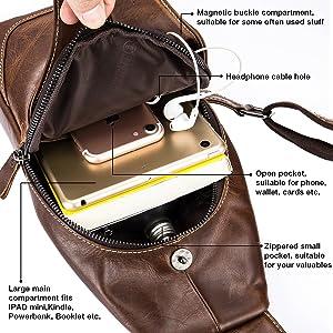 4f7c52b879f Men Sling Bag,Charminer Genuine Leather Chest Shoulder Messenger Bag Casual Crossbody  Bag Daypacks Brown M ...