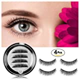 Magnetic Eyelashes [No Glue] Black False Eyelashes Set for Natural Look - 3D Full Eye Fake Lashes Extensions - Reusable Long and Soft (1 Pair / 4 Pcs)