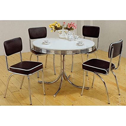 5pc White & Chrome Retro Round Table & Black Chairs Set