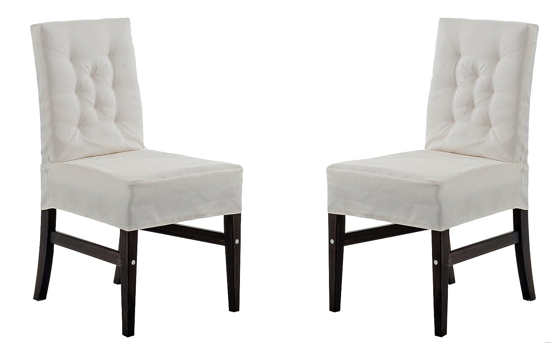 Ambientehome 2 graue Stühle mit weißen Hussen Serie Marihamn, Sehr edel