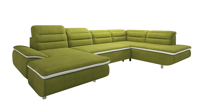 New Level Solution Wohnlandschaft Recamiere 2 Sitzer mit Funktion Ottomane Stoff,  208 x 350 x 79  cm, grün / weiß