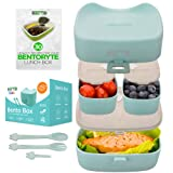 BentoRyte Kids Bento Lunch Box Set with Accessories | Insulated Food Containers for Kids | 3 Compartment BPA Free Container | Meal Prep and Storage Tupperware Boxes | Freezer and Microwave Safe (Color: Blue)