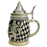 Germany Bayern Coat of Arms Ceramic Collectible Beer Stein with Metal Lid (Color: Cobalt Blue)