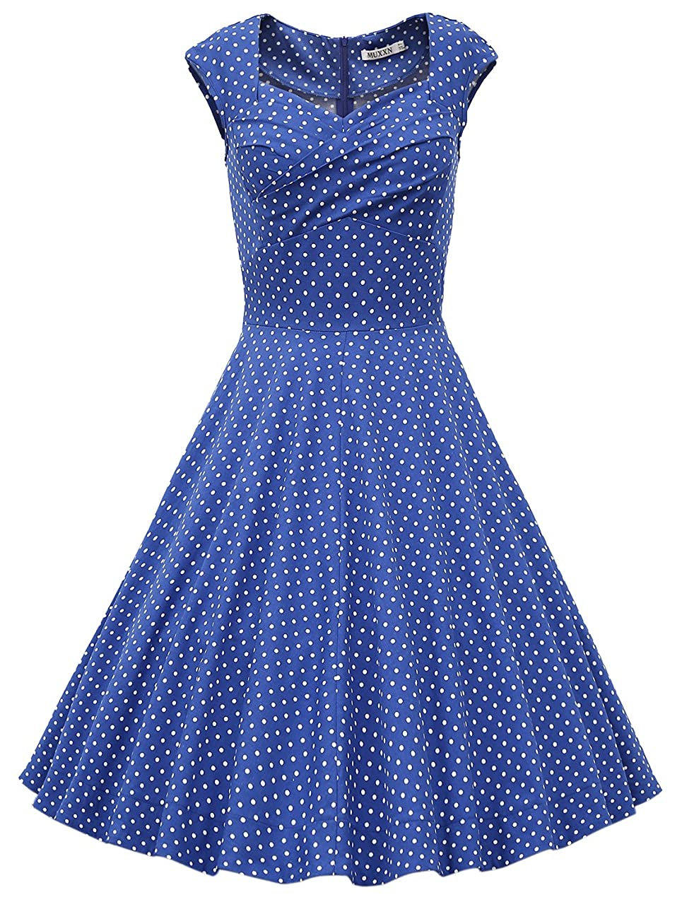MUXXN Women's 1950s Retro Vintage Cap Sleeve Party Swing Dress 0