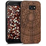 kwmobile Wooden case for Samsung Galaxy A5 (2017) Case - Handy Cover Protection case made of wood in walnut Design Indian sun dark brown (Color: Indian sun dark brown)