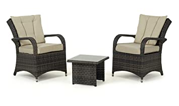 Maze Rattan Texas Lounge Set in a Weave - Mixed Brown (3-Piece)