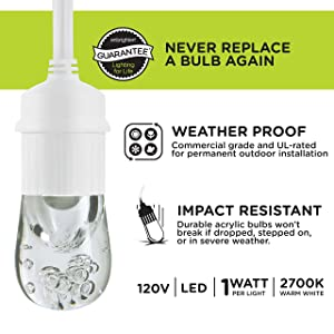 Enbrighten Classic LED Café String Lights with Stainless Steel Lens Shade, White, 48ft, 24 Impact Resistant Lifetime Bulbs, Premium, Shatterproof, Weatherproof, Indoor/Outdoor, UL Listed, 43370 (Color: White Stainless Steel, Tamaño: 48 ft.)