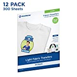 Printworks Light Fabric Transfers, for White/Light-Colored Fabrics, Value Packs, 25 Sheets Per Pack, 12 Packs, 300 Total Sheets, Inkjet, 8.5 x 11 (00530C) (Color: Light, Tamaño: 300 Sheets)