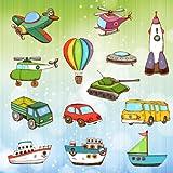 Véhicules et voitures Coloriage pour les tout petits et les enfants : camions , avion , bateaux et pelleteuse...
