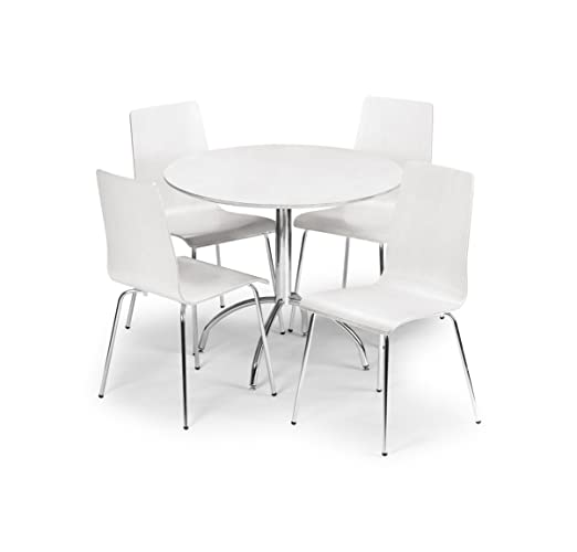 Julian Bowen Mandy Dining Table Set with 4 Chairs, White