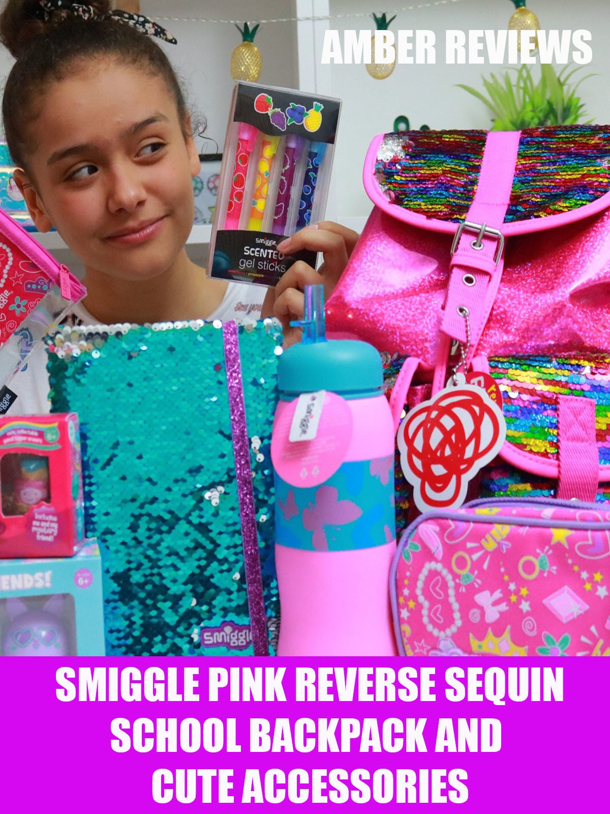 Amber Reviews Smiggle Pink Reverse Sequin Backpack and Cute Accessories
