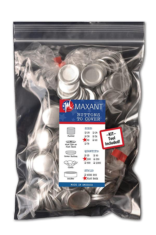100 Buttons to Cover - Made in USA - Self Cover Buttons with flat backs - size 45 with Tool (Tamaño: Size 45 Flat - Qty 100)