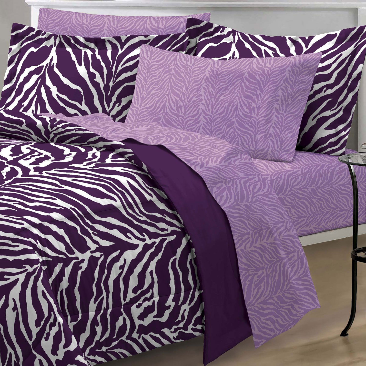 purple zebra bedding full