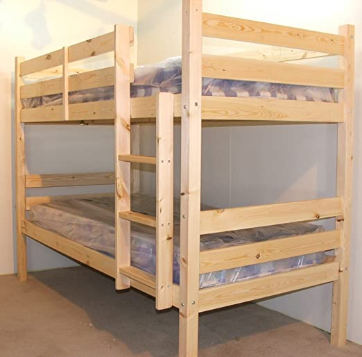 Adult Bunkbed 3ft single solid pine bunk bed - HEAVY DUTY BUNK BED - VERY STRONG - extra thick ladder steps with TWO base supporing centre rails