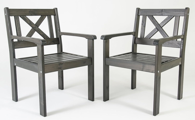 Trendy-Home24 Set 2tlg. nordische Sessel EVJE, taupe grau, Holzstuhl, Gartenstuhl