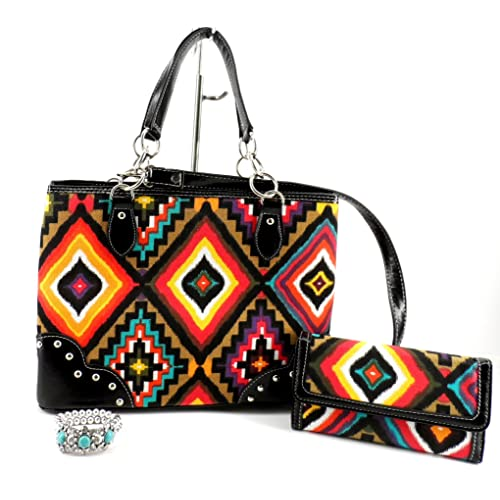 Cleto Aztec Concealed Weapon Carry Hand Gun Western Purse Messenger Bag Wallet SET