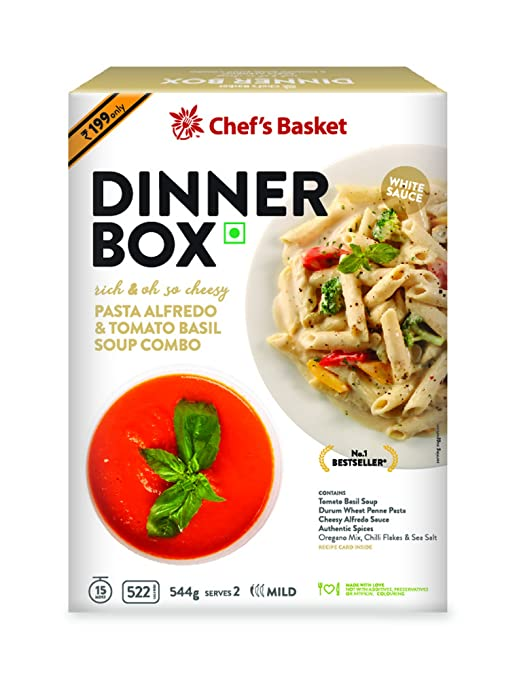 Chef's Basket Dinner Box Pasta Alfredo and Tomato Basil Soup Combo, 544g