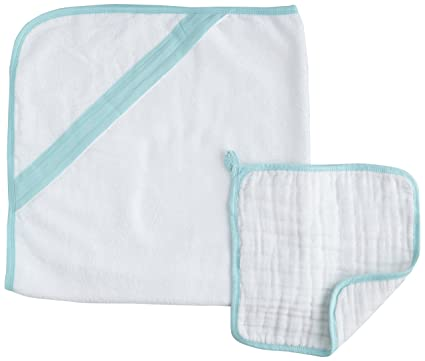 aden + anais Muslin Hooded Towel & Washcloth Set, La Mer (Discontinued by Manufacturer)