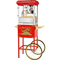Superior Red 8oz Hot & Fresh Style Popcorn Popper Machine w/Cart