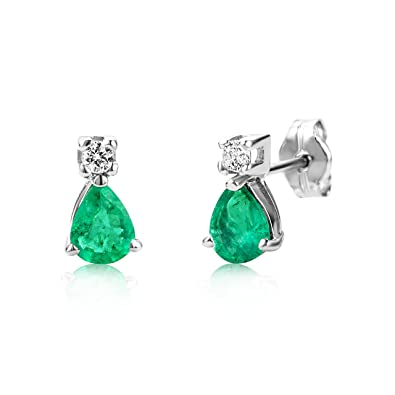 Miore 9ct White Gold Emerald Earrings with Cubic Zirconia