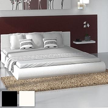 Miadomodo - LEBT04-2creme - Cama de piel sintética de 180 x 200 cm - Blanco crema - Dos colores a elegir