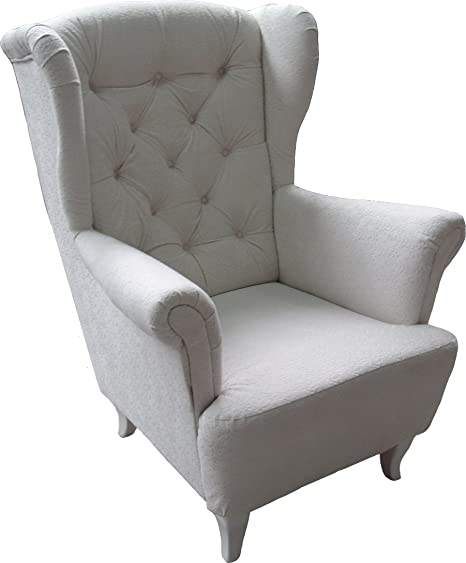 Ohrensessel Weiß Weiss LUDWIG Loungesessel Chesterfield