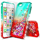 iPod Touch 7th /6th /5th Generation Case, iPod Touch 7/6/5 with Tempered Glass Screen Protector for Women Girls Kids, NageBee Glitter Sparkle Liquid Floating Waterfall Durable Cute Case -Teal/Candy (Color: Gradient Teal/Candy)