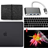 GMYLE 5 in 1 MacBook New Pro Touch Bar 15 Inch A1990/A1707 (2016,2017,2018 Release) Bundle, USB C Hub Adapter, Hard Case, Felt Storage Oragnizer Pouch Bag, Keyboard Cover & Screen Protector - Black (Color: Black 5 in 1 (Starter Pack), Tamaño: MacBook Pro Touch Bar 15
