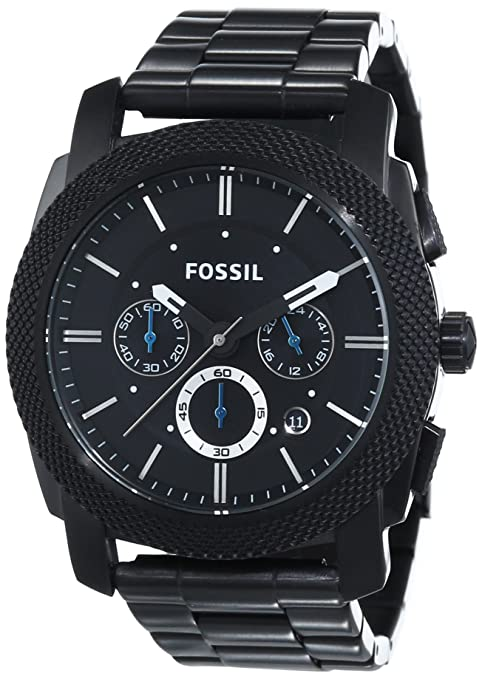 Best watch brands Fossil Men's FS4552 Machine Black Stainless Steel Chronograph Watch