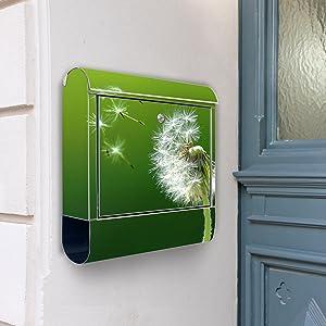 Design Briefkasten Edelstahl Briefkästen 38x42x11 von banjado mit Motiv Pusteblume   Kritiken und weitere Informationen
